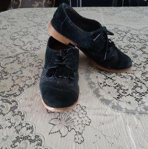 Tom's Kiltie Black Suede Oxfords Size 6.5